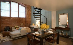 Loft apartment living room and staircase at Shadyside Commons in Pittsburgh