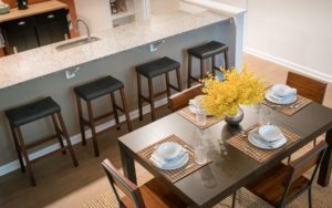Apartment kitchen with breakfast bar at Shadyside Commons in Pittsburgh, PA