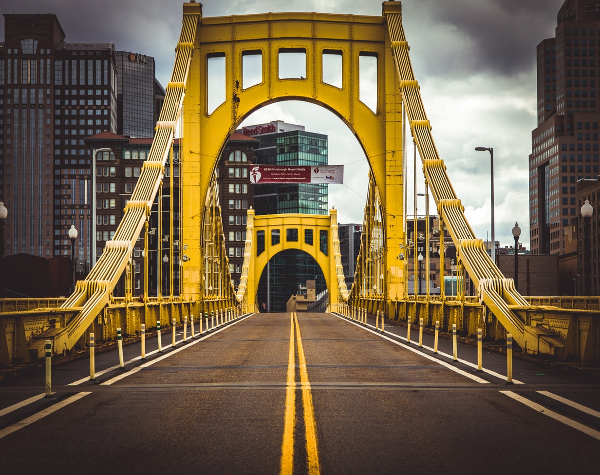 yellow bridge in Pittsburgh, PA